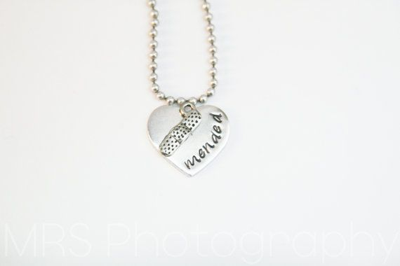 """Congenital Heart Defect (CHD) Awareness Hand Stamped Heart - """"mended"""" Necklace with Bandaid Charm"""