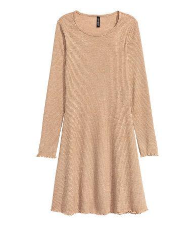 Ribbed dress   Dark beige   Ladies   H&M AU