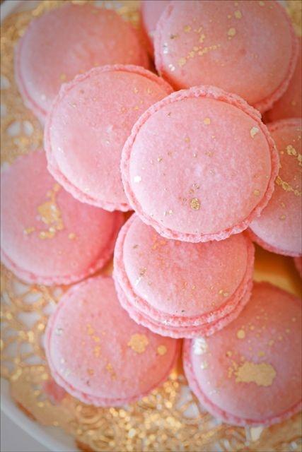 Blush Pink & Gold French Macarons
