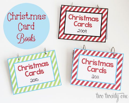 IHeart Organizing: UHeart Organizing: Christmas Card Books - I do this every year... love her printable covers!!