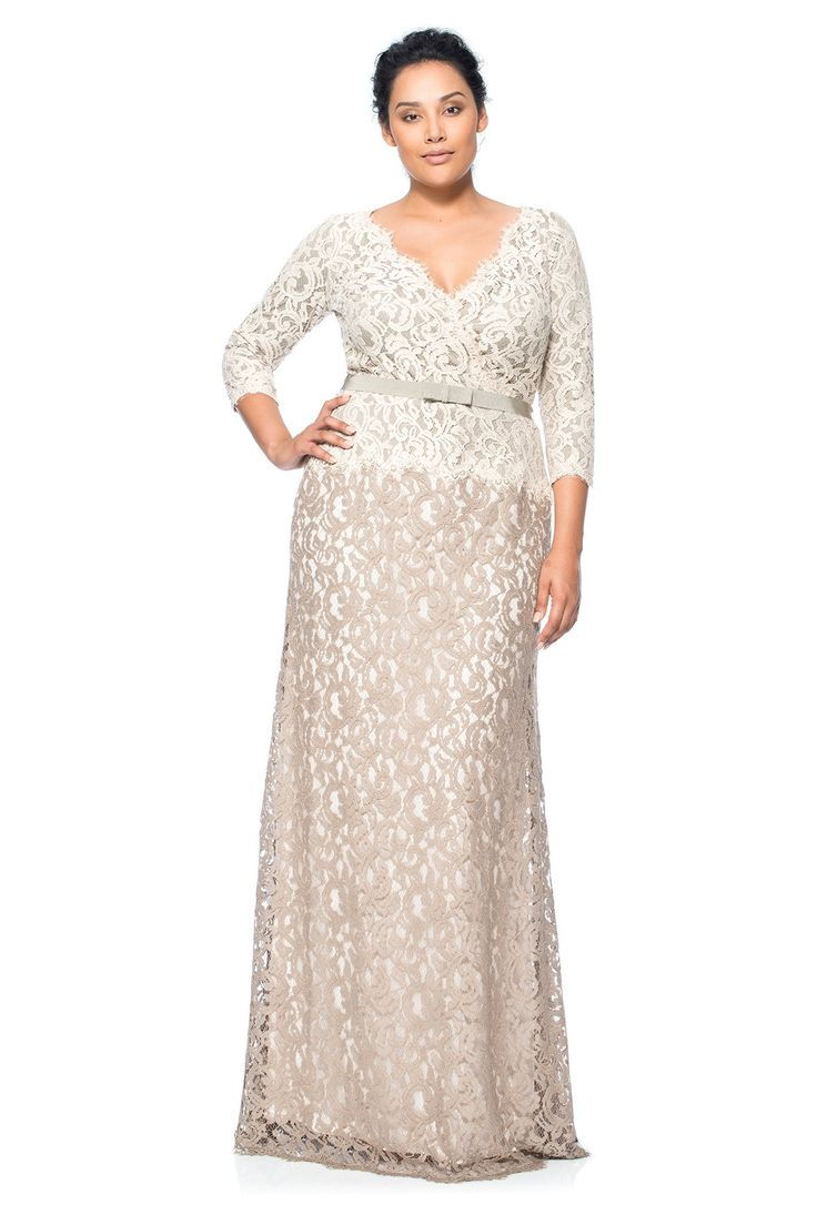 Lace ¾ Sleeve V-Neck Gown with Grosgrain Ribbon Belt - PLUS SIZE | Tadashi Shoji