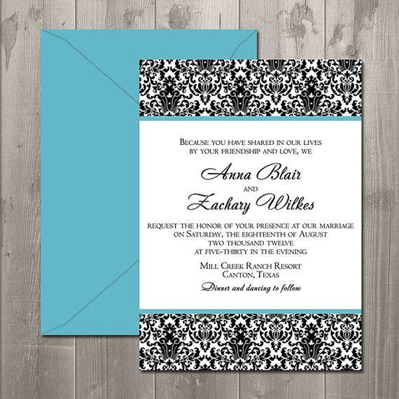 Double Damask Wedding Invitation - DIY Printable Invitation $15.00