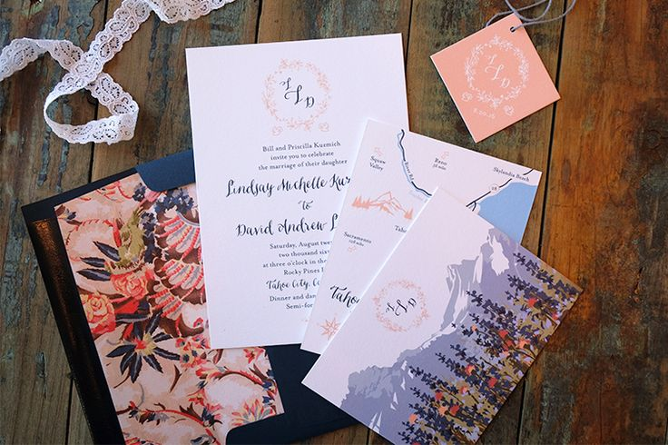 ROMANTIC GARDEN INVITATION SUITE. The Romantic Garden wedding invitation suite is inspired by vintage French florals. The combination of colors, fonts and floral monogram make the Romantic Garden suite delicate and sweet.  The invitation can be letterpress, foil or digital (flat) printed. The reply card and guest info card can be printed on a soft blush shimmer paper or white matte paper.