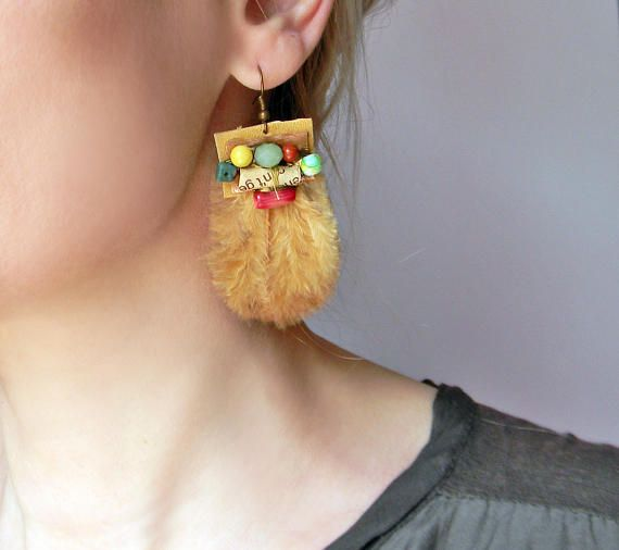 Boho feather earrings in mustard yellow and green with