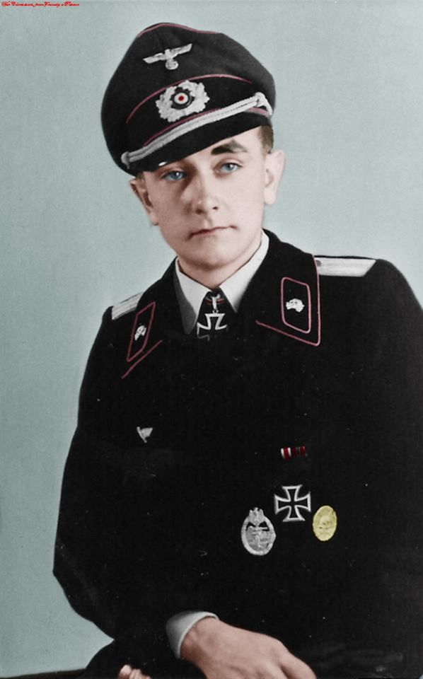 ✠ Otto Carius, born 27 May 1922 and died 24 January 2015, was an Wehrmacht tank commander, on this photo he was Leutnant. On this photo, he has won the Knight Cross of the Iron Cross, 2nd and 1st Class of Iron Cross, Silver Class of the Aussault of Armoured Badge and Gold class of the Wound Badge. He destroyed 150 vehicles, tanks or guns. He is the 3rd As of Panzerwaffe.