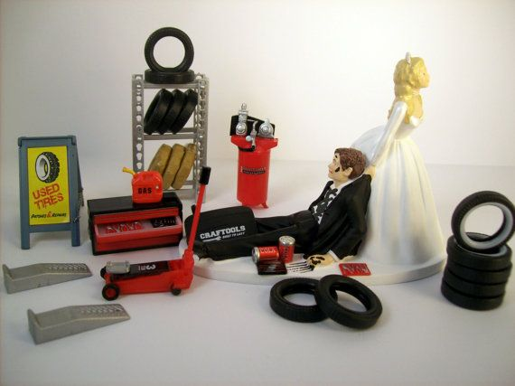 Funny Wedding Cake Topper Mechanics AUTO MECHANIC TIRES Long Hair Awesome Groom's Cake Humorous Rehearsal Dinner