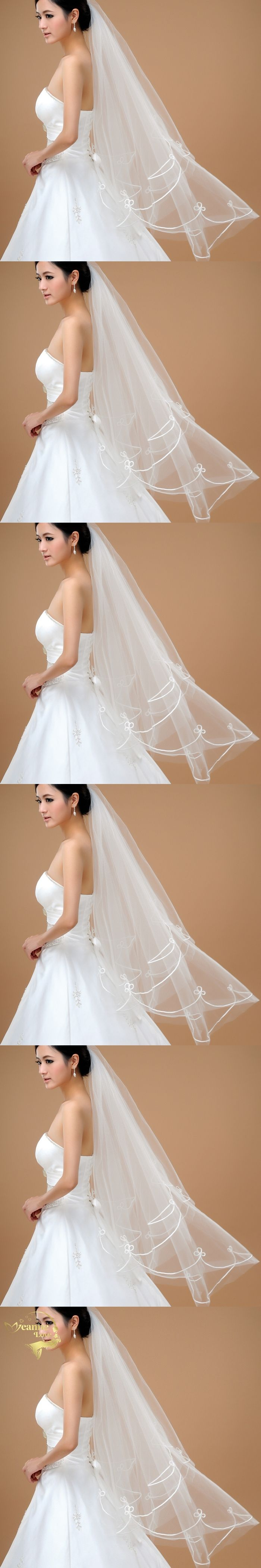 140cm Wholesale Simple Tulle Wedding Veils Two Layer Ribbon Edge Bridal Accesories White Ivory Wedding Veils ACCESSORIES OV32000