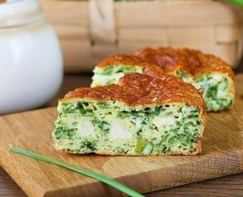 Ингредиенты: Зеленый лук - 200 г. Яйца куриные - 3 шт. Сметана - 150 г. Мука - 1 стакан. Куриная отварная грудка - 150 г. Сыр твердый - 70 г. Разрыхлитель - 1, 5 ч. л. Сода - щепотка. Соль - 0, 5 ч. л...