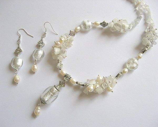 Margele murano, cristal, ochi de pisica si perle colier si cercei  - idei   cadouri femei - ocazie - pietre semipretioase