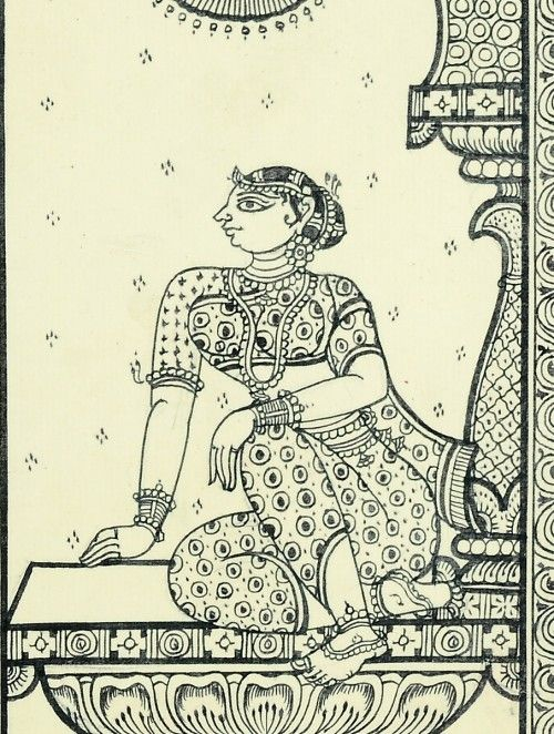 Framed Black-Brown Sitting Woman Pattachitra Painting on Silk 15in x 12in x 0.6in