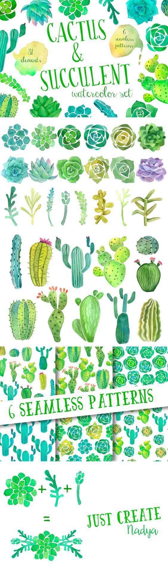 combinación ganadora: cactus+suculentas+acuarelas