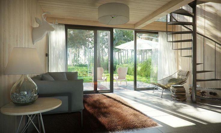 Glulam interior. Vacation home designed and built by SVOBO.