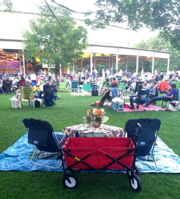The genius of hearing concerts at Tanglewood is of course the pre-gaming picnics prior to the music. People really rock a picnic there, with all kinds of food and table set-ups and even candelabras.