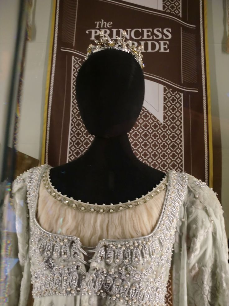 Marie Poutine's Jewels & Royals: Queen Amidala's Royal Wardrobe - The museum proudly displays Princess Buttercup's Princess Bride wedding costume, worn by actress Robin Wright in the 1987 film, complete with the tiara.