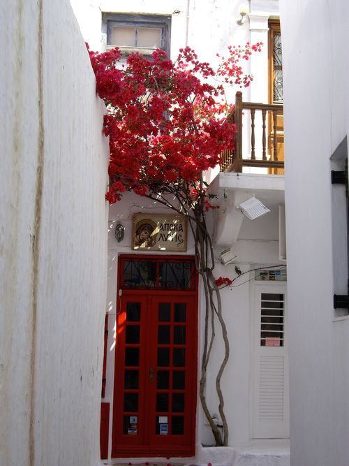 Red door - Mykonos ...When I walked the streets in September everywhere I looked was inspired art for me.  Love this photo...