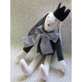 Handmade Fabric Bunny Doll with Crown