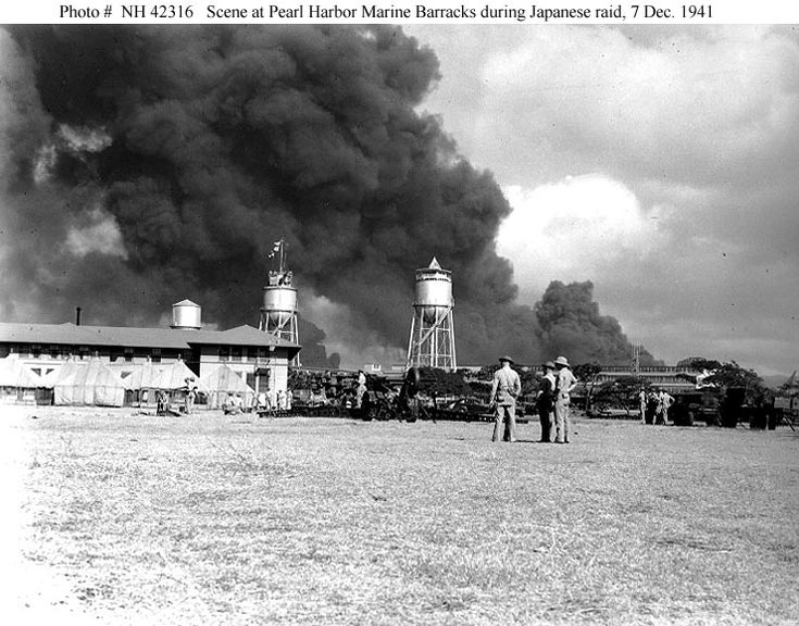 Pearl Harbor Attack - Smoke rising from the right distance is from the burning USS Arizona ...