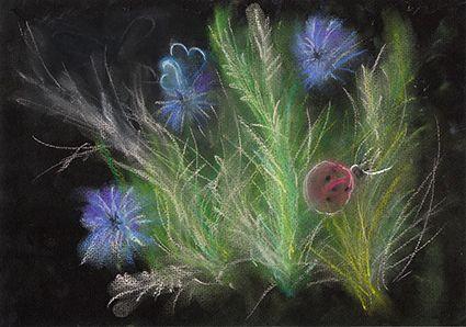 рисунок, пастель, сухая  пастель, пастельная  бумага, черная  бумага, васильки, цветы, божья коровка