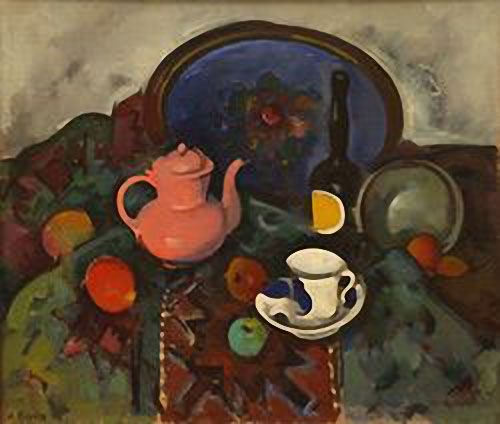 "Still-life with a pink tea-pot. Alexander Kuprin (1880-1960) Studied in St.Petersburg in 1902-1904 and in 1904-1906, at the Moscow School of Painting, Sculpture and Architecture. In 1910 he established the ""Jack of Diamonds"" association. The artists had a common interest in French painting (Cezanne) along with thetraditions of Russian folk art. The artists' work included still-lives which provided many opportunities to explore the interactions between form, space and colour."