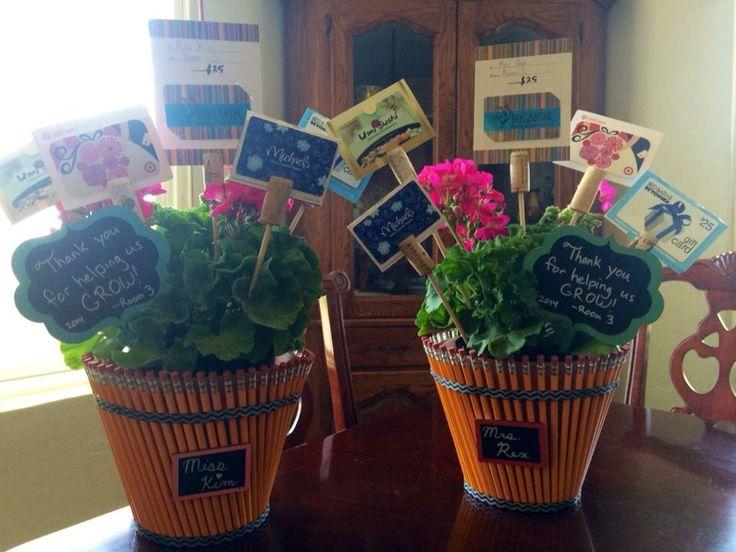 Teacher Class Gift Flower Pot Decorated W Pencils
