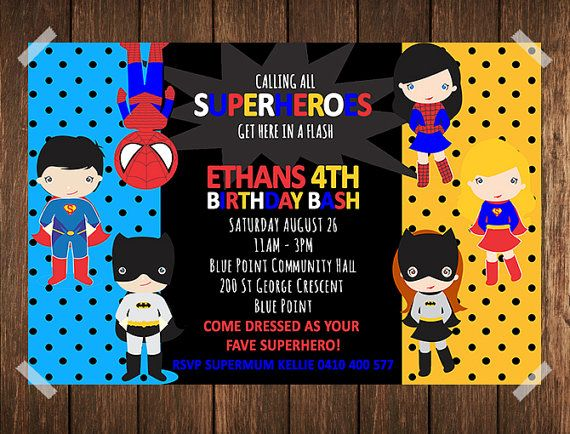 Superhero Birthday Invitation / Superhero by IslaKateDesigns
