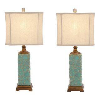 casa cortes carmel seafoam handcrafted ceramic table lamp set of 2 seafoam blue