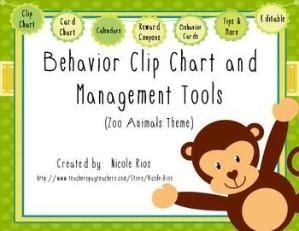 A tried and true way to help students, parents, and teachers keep track of behavior and choices. This download includes: 1) materials for Zoo Animal Behavior Clip Chart (including directions and editable files) 2) materials for Zoo Animals Behavior Card Chart (including directions and editable files) 3) behavior tracking tools 4) parent communication tools and 5) student incentives and management tools and tips. Owls & Chevron theme also available in my store. $ by keri