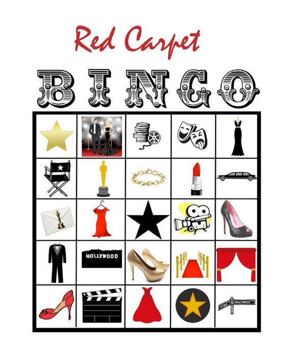 Hollywood Movie Star Red Carpet BINGO Printable Game by prettimini, $10.00
