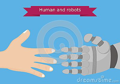 Human And Robot Hands Flat Design. Human And Robot Interaction Conceptual Illustration - Download From Over 42 Million High Quality Stock Photos, Images, Vectors. Sign up for FREE today. Image: 57594863