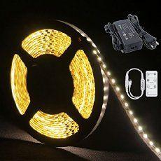 Auralum® 5M Warmweiß SMD 3528 600 Leds 12V 48W 2400LM IP20 Flexible LED Streifen Strip Band Leiste + 6 Key Fernbedienung + DC 12V Netzteil