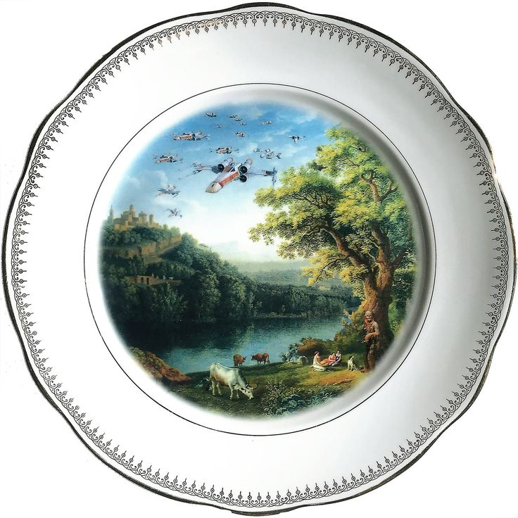 X-Wing Starfighter Squad Landscape - Chewbacca - Star Wars - Vintage Porcelain Plate - #0554 by ArtefactoStore on Etsy