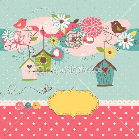 Красивый весенний фон с птицей дома, птицы и цветы — Векторная картинка #16791359
