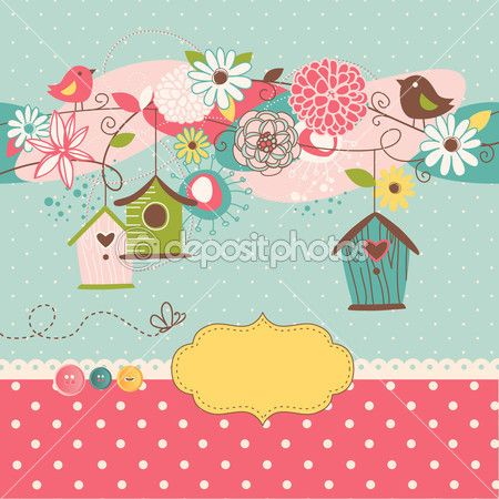 Beautiful Spring background with bird houses, birds and flowers — Stock Illustration #16791359