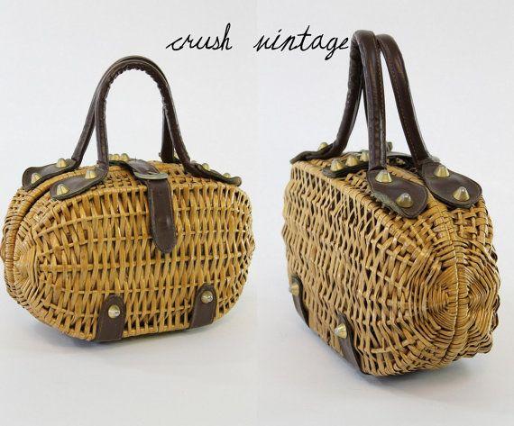 60's Coret Wicker Purse / 1960s Wicker Style Bag / by CrushVintage, $48.00