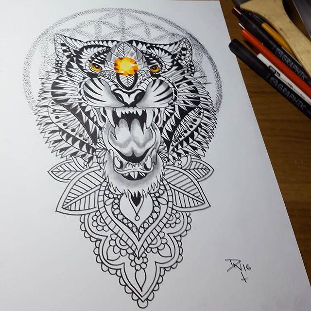 17 best ideas about tiger print tattoos on pinterest dog tattoos wolf print tattoo and rip - Tigre mandala ...