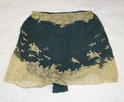 Blue silk and cream lace shallow French underpants by Hermine, c. 1920's. There are cream lace hunting scenes on the shorts to match the bra.