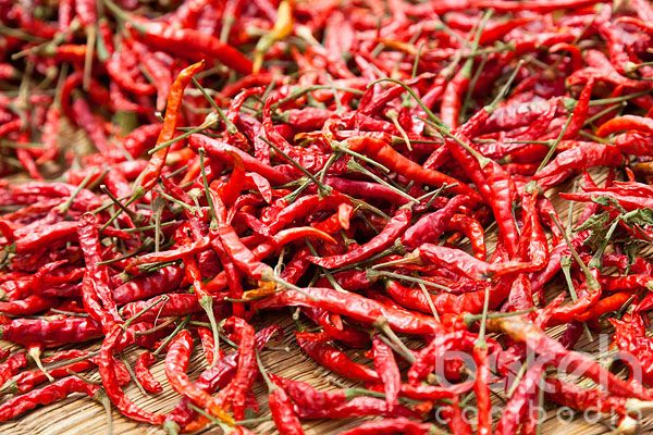 Dried red chili peppers | Kampong Cham Province, Cambodia