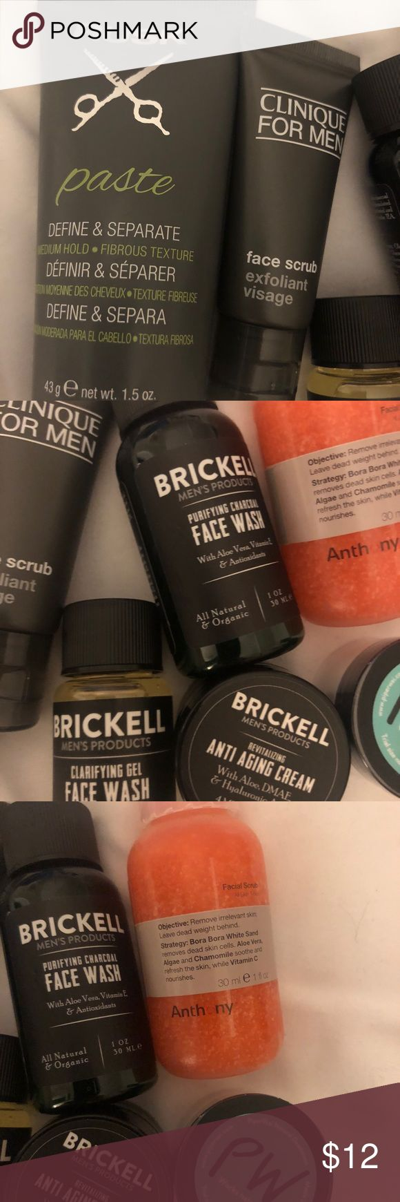 Men's Sephora Product Sample Lot Anthony Clinique Perfect travel sized premium products BRAND NEW  rusk Paste 1.5 oz Clinique for Men Face Scrub  .5 oz Brickell Face wash 1oz Brickell Clarifying Face wash 15 ml Anthony Facial Scrub 1oz Piper Wai natural deodorant Brickell anti aging cream 4ml Clinique Makeup