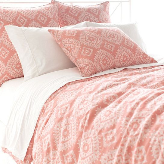 Pine Cone Hill Ramala Coral Duvet Cover  Enzyme washed for softness and a distressed, vintage look, this duvet cover bears a gorgeously intricate Indian-inspired pattern. Variations in color are expected.