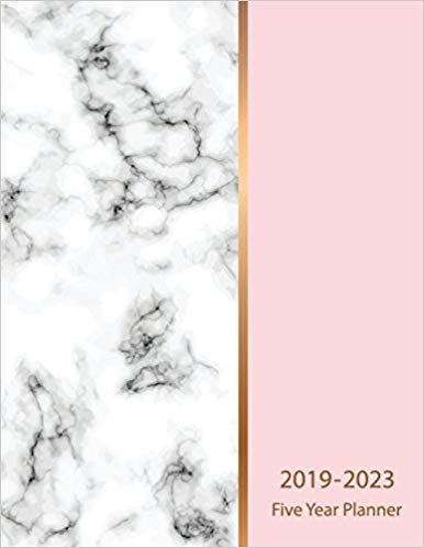 2019 2023 five year planner marble texture design 60 months calendar schedule organizer agenda yearly goals monthly task checklist logbook five year calendar planner volume 3