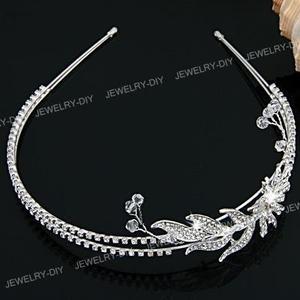Silver Plated Flower Leaf Rhinestone Wedding Headband Tiara Hair Band