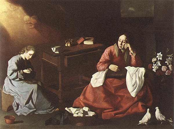 Francisco de  Zurbarán, Gesù fanciullo contempla la corona di spine