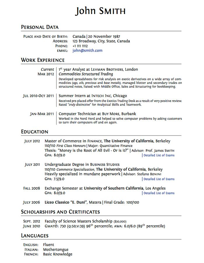 sample resumes for college students