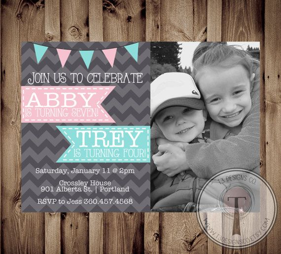 Joint Birthday Party Invitation Boy and Girl photo by T3DesignsCo