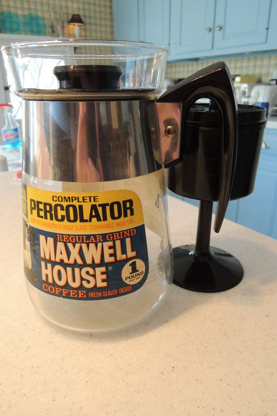 Vintage Electric Stove >> Glass Percolator, Maxwell House, Stove top, 6 cup Original ...