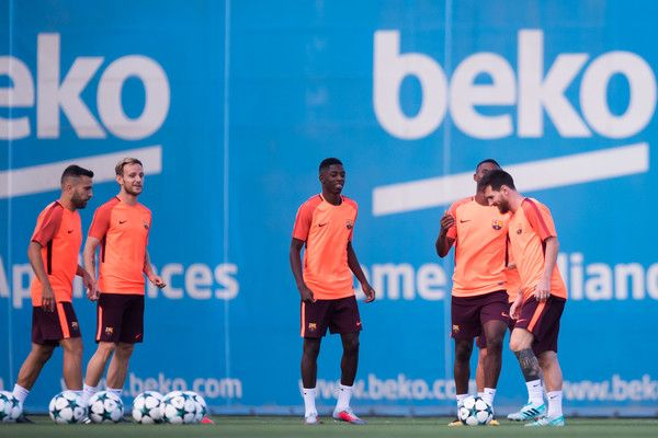 Jordi Alba, Ivan Rakitic, Ousmane Dembele, Nelson Semedo and Lionel Messi of FC Barcelona perform during a training session ahead of the UEFA Champions League Group D match against Juventus on September 11, 2017 in Barcelona.
