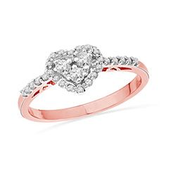Zales: 1/3 CT. T.W. Diamond Heart-Shaped Frame Ring in 10K Rose Gold