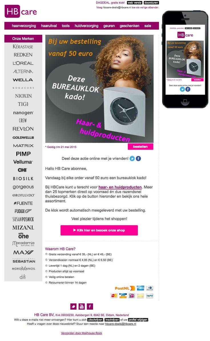 Email Newsletter Template. Vandaag bureauklok bij uw haar- en huidverzorgingsproducten? Verzonden op 21 mei 2015.