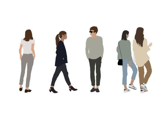 5 People Pack Vector Clipart Png Ai Illustration Human Architecture Silhouette Study Sage People Illustration Render People People Cutout