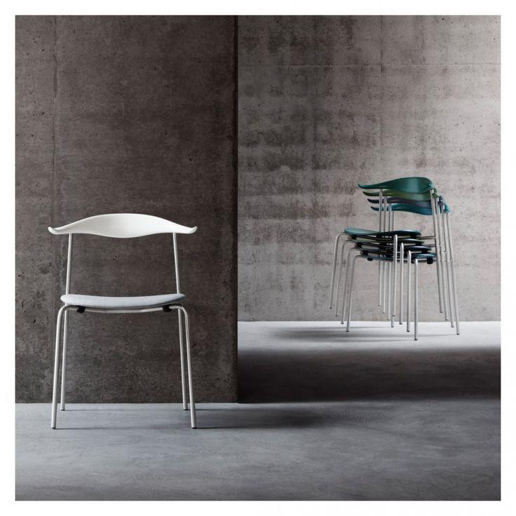 Fesselnd CH88P Chair Smoked Chrome Base, Coloured Beech Back U0026 Fabric Seat